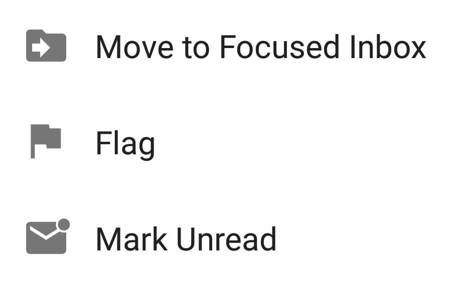 Outlook App dropdown