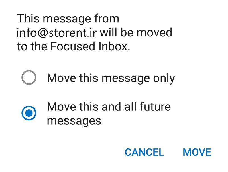 Outlook App dropdown menu